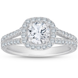 1Ct Diamond Cushion Halo Moissanite Split Shank Engagement Ring 10k White Gold (H/I, SI1-SI2)