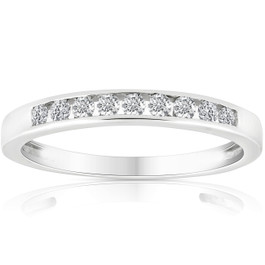 1/4 Ct Diamond Channel Set Wedding Ring 10k White Gold (K-L, I2-I3)