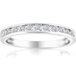 1/2 Ct Diamond Channel Set Wedding Ring 10k White Gold (K-L, I2-I3)