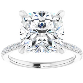 3 1/2 Cushion Moissanite and Diamond Engagement Ring 14k White Gold (G/H, SI1-SI2)