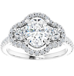 1 3/4 Ct Three Stone Halo Diamond & Oval Moissanite Engagement Ring White Gold (G, SI)