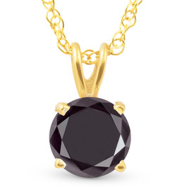 1 Ct Black Diamond Solitaire Pendant Necklace 14k Yellow Gold (Black, AAA)