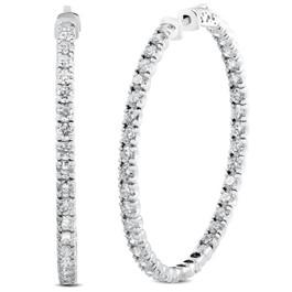 """8.00CT 2"""" Diamond Inside Outside Hoops 14k White Gold (G, VS)"""