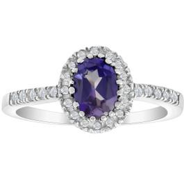 3/4 Ct Diamond Oval Halo Amethyst Ring 14k White Gold (I/J, I2-I3)