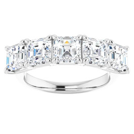 5Ct Asscher Cut Moissanite Five Stone Wedding Ring Anniversary Band White Gold