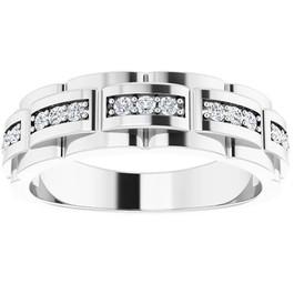 1/3 Ct Mens Lab Grown Diamond Wedding Ring White Gold Anniversary Band (((G-H)), VS)