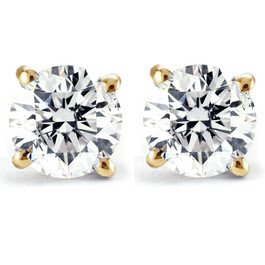 Certified 1/2 Ct T.W. Diamond Studs 14k Yellow Gold Earrings (K-L, I2-I3)