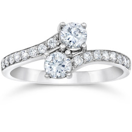 Certified 1 Ct T.W. Two Stone Diamond Solitaire Engagement Ring 14k White Gold (K-L, I2-I3)