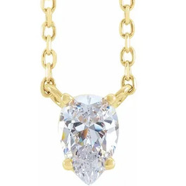 1Ct Pear Shape Diamond Solitaire Floating Pendant Yellow Gold Necklace Enhanced (G-H, SI)