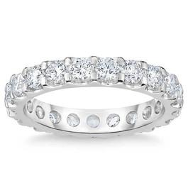 2 Ct Moissanite Eternity Ring Womens Wedding Band 14k White Gold (((G-H)), VS1-VS2)