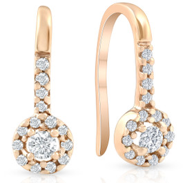 1/5ct Diamond Earrings Rose Gold (H, I2-I3)