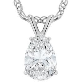 VS 2 Ct Pear Shape Solitaire Moissanite Pendant 14k White Gold Womens Necklace