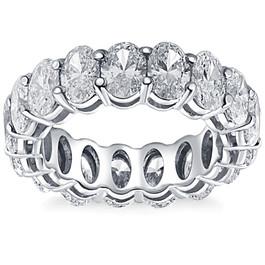 4 Ct Oval Moissanite Eternity Ring Womens Wedding Band 10k White Gold