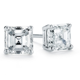 VS 1 1/4 Ct Asscher Cut Solitaire Moissanite Studs Womens Earrings White Gold