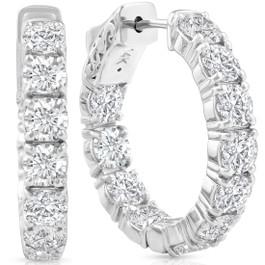 4 1/2 Ct Diamond Inside Outside Hoops W/ Vault Lock 14k White Gold Lab Grown (G/H, VS)