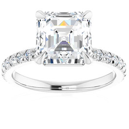 3 1/3Ct Asscher Cut & Diamond Engagement Ring in White, Yellow, or Rose Gold (G/H, VS1-VS2)