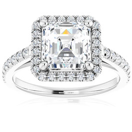 2 1/2Ct Asscher Cut Moissanite & Diamond Halo Engagement Ring in 10k Gold (G/H, VS1-VS2)