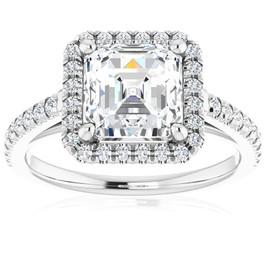 2 1/2Ct Asscher Cut Moissanite & Diamond Halo Engagement Ring in 10k Gold (G/H, VS1-VS2)