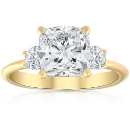 3 1/2Ct Cushion & Round Cut Moissanite Engagement Ring 14k Yellow Gold
