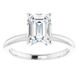 2Ct Emerald Solitaire Moissanite Engagement Ring in White Yellow or Rose Gold