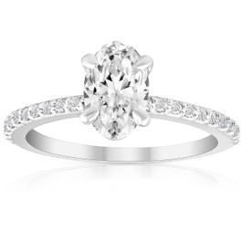 1 1/2 Ct Diamond & Oval Moissanite Engagement Ring 10k White Gold (G/H, VS1-VS2)