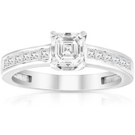 1Ct Asscher Cut Moissanite & Princess Cut Diamond Engagement Ring 14k White Gold (G/H, SI2-I1)