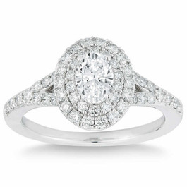 1 Ct Lab Grown Oval Diamond Halo Engagement Ring 14k White Gold (H/I, VS2-SI1)