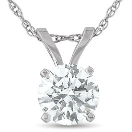 Certified 3/8 Carat Solitaire Lab Grown Diamond Pendant 14K White Gold Necklace ((H-I), SI(2)-I(1))