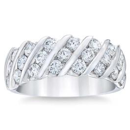 Platinum 1 1/2ct Diamond Wedding Multi-Row Anniversary Ring (G/H, I1-I2)