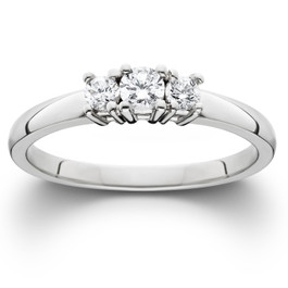 1/2 Ct Three Stone Lab Grown Diamond Engagement Ring 10k White Gold (((G-H)), SI(2)-I(1))