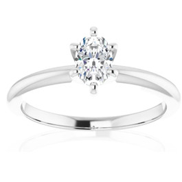 1/3Ct Oval Lab Grown Diamond Solitaire Engagement Ring 14k White Gold (((G-H)), SI(1)-SI(2))