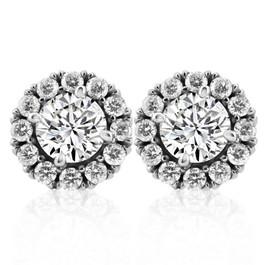 2 1/2 Ct Moissanite & Diamond Studs 14k White Gold Womens Earrings (H, I1-I2)