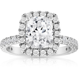 2 1/2Ct Cushion Diamond Halo Engagement Ring 14k White Gold Enhanced (G/H, SI1-SI2)