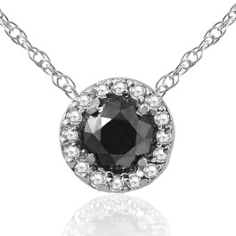 3/8 ct Black & White Diamond Pave Halo Solitaire Pendant Necklace 14K Whte Gold (J/K, I2-I3)