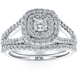 1Ct Lab Grown Diamond Cushion Halo Engagement Wedding Ring Set 10K White Gold (((G-H)), SI(2)-I(1))