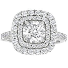 2 Ct Diamond Double Cushion Halo Engagement Ring 14K White Gold (G/H, I1-I2)