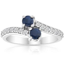 1Ct Blue Sapphire & Diamond Two Stone Forever us Ring 10k White Gold (G/H, I1-I2)