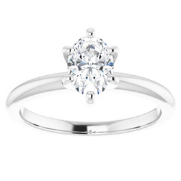 1/2 Ct Oval Solitaire Diamond Engagement Ring Lab Grown White or Yellow Gold ((H-I), SI(1)-SI(2))