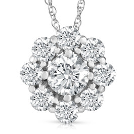 "VS 3 Ct Diamond & Moissanite Halo Pendant 14k White Gold 18"" Lab Grown Necklace (G-H, VS2)"
