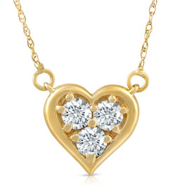1/2Ct Diamond Heart Pendant 14k White Yellow or Rose Gold Lab Grown Necklace (((G-H)), VS1)