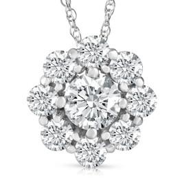 "2.50 Ct Diamond Halo Pendant 14k White Gold 18"" Lab Grown Necklace (((G-H)), VS2)"