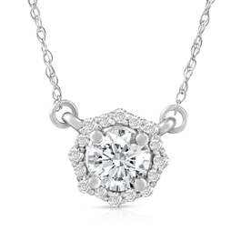 "5/8 Ct Halo Diamond Pendant 14k White Gold Lab Grown Necklace 18"" ((G-H), VS2)"