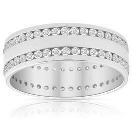 Mens 1 3/8Ct Diamond Eternity Ring 10k White Gold Double Row High Polished (H/I, I1-I2)