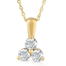 1Ct Diamond Three Stone Pendant in 14k White Yellow Rose Gold Necklace (G-H, I1)