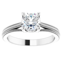 1 Ct Round Diamond Engagement Ring 14k White Gold Vintage Accent Enhanced (G/H, SI1-SI2)