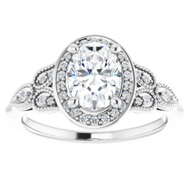 1 1/3 Ct Oval Diamond Vintage Halo Engagement Ring 14k White Gold Lab Grown (G/H, VS1-VS2)