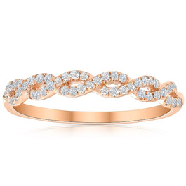 1/4 Carat (ctw) Round White Diamond Ladies Swirl Wedding Ring 10k Rose Gold (H/I, I1-I2)
