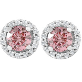 1/2 Ct Halo Pink Diamond Lab Grown Diamond Studs White Gold Screw Back Earrings (Pink, SI(1)-SI(2))