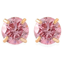 1/2Ct Pink Lab Grown Diamond Screw Back Studs Earrings 14K Yellow Gold (Pink, SI(2)-I(1))
