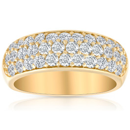 1 3/4Ct Pave Diamond Lab Grown Wedding Anniversary Ring 14k Yellow Gold ((G-H), SI(1)-SI(2))